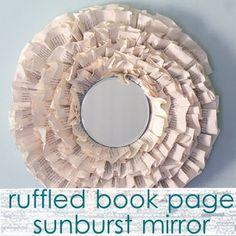 Ruffled Book Page Sunburst Mirror
