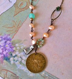Rosemary.wire wrapped,fresh water pearl,vintage glass beaded,rhinestone,coin necklace. tiedupmemories
