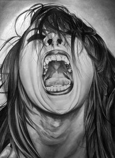 Screamer by Portrait Lc www.facebook.com/... #art #drawing #Graphit #portrait #black #white