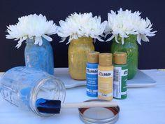 Mason Jar how-to... Mason jars get a light coat of acrylic paint on the inside of the jar using a foam brush