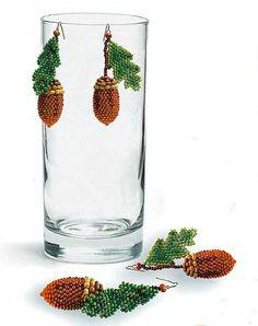 Beaded Acorn earrings acorns schema & instructions. prob. not for beginners & needs translation ~ Seed Bead Tutorials