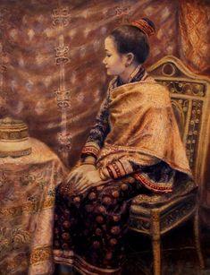 Princess Of Luang Prabang Painting by Sompaseuth Chounlamany Laos Culture, Luang Prabang, Thai Art, Stamp Collecting, Pattern Art, Oil On Canvas, Nature Photography, Mona Lisa, Design Inspiration