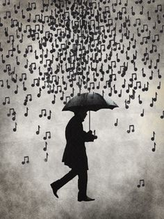Music notes in the rain