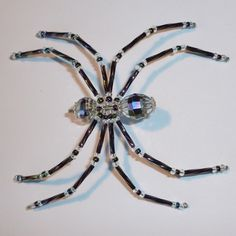 Crystal Clear and Iridescent Black Beaded Spider by MerriAmelie