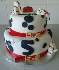 2 tiered dalmation birthday cake with handmade dalmations ....