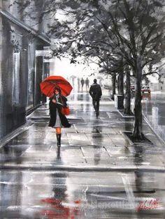 The red umbrella - Helen Cottle Rain Painting, Umbrella Art, Walking In The Rain, Rainy Days, Rainy Night, Impressionist, Amazing Art, Art Drawings, Art Gallery