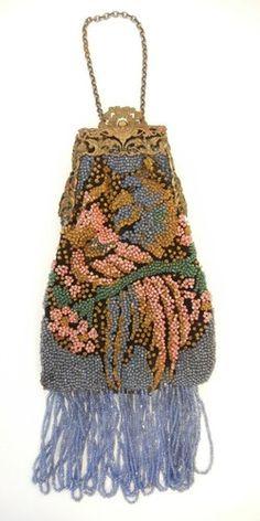 Antique 1920s Glass Beaded Purse Figural Birds Cockatoos Art Nouveau Frame | eBay