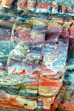 Petrified Rocks, AZ.  From the top: red and white banded cliffs and dark green valley with foreground rocks. This fades into purple sky becoming blue sky over distant mountains, then red hills and grassy valley. This fades into yellow sunrise sky over distant green grass covered plateau that drops off to red cliffs in foreground.   Yes, really.  the landscapes fade into each other like scenes on a bolt of cloth.