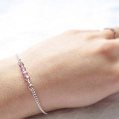 Silver Bracelet with Dainty Bead Bar by MagnificentMouse