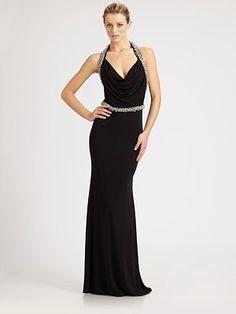 ABS - Beaded Halter Gown - Saks.com