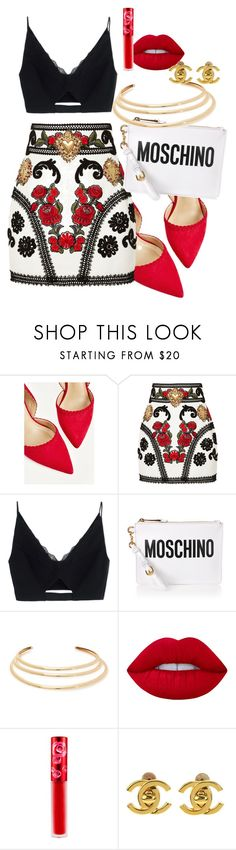 """""""Untitled #464"""" by dreamer3108 on Polyvore featuring Dolce&Gabbana, Versace, Moschino, Kenneth Jay Lane, Lime Crime and Chanel"""
