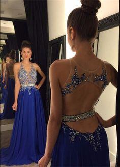 Prom Dress, Blue Long Beaded Open Back 2017 Prom Dresses,324