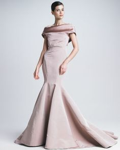 Silk Faille Mermaid Gown by Zac Posen at Neiman Marcus.