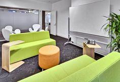 Open Collaboration Area Office Interior Design, Office Interiors, Innovative Office, Sofa, Couch, Offices, Collaboration, Innovation, Inspiration