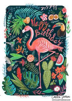 Cartita Design #flamingos #tropical #summer #fruit #watermelon #birds #illustration