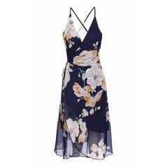 Lace Up Asymmetric Maxi Chiffon Dress via Polyvore featuring dresses, floral dresses, white dress, maxi dresses, floral cocktail dresses and floral chiffon dress