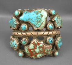 Massive Vintage Navajo Sterling Turquoise Bear Fetish Cuff 130 Grams, hand signed CZAR and 925.