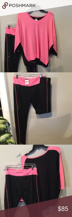 NWT Ralph Lauren Longing Wear M New condition, Straight Leg pant, zipper pocket on back waist of pant. V Neck top FlowS comfortably. Has no waist elastic. See photos. Pink/Black Cotton & Elastin Blend. Purchased last year for vacation. Ralph Lauren Tops Sweatshirts & Hoodies