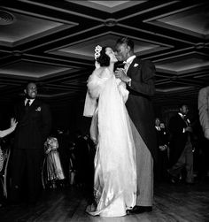Nat King Cole and Maria Cole dance at their wedding reception 65 years ago today, March 28, 1948, which happened to be Easter Sunday. The Coles were married at Harlems famous Abyssinian Baptist Church by Rev. Adam Clayton Powell, Jr., the legendary Harlem congressman. According to Michael Henry Adams, author of the beautiful coffee table book, Harlem Lost and Found, Ms. Cole wore a $700 ice-blue satin dress designed by none other than VBG fashion designer legen