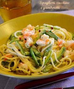 FOOD AND WINE WORDS ...: Spaghetti with zucchini and shrimps