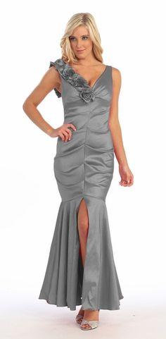 1c615158140 Mermaid Gown Silver Long Taffeta Flower Strap Front Slit