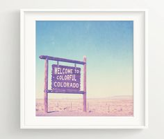Colorful Colorado Print - Vintage Colorado Sign and Blue Skies You have the choice of either our MATTE or PREMIUM MATTE paper. The differences are as follows. MATTE: A beautiful litho-realistic paper with a very smooth finish. An elegant wood-free, fine-art paper that provides an