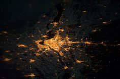 12/23/2014 Montreal at night Montreal, Canada 45°30′N 73°34′W   Montreal - captured here from the ISS at night - is the second largest metropolis in Canada with more than 1.6 million residents. The city derives its name from Mount Royal, a sizable hill located at its center. Image courtesy of NASA.