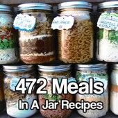 Meals in a jar (just add water) & suppose to keep for 5 years without refrigeration. Meals In Jar Recipes. Mason Jar Meals, Meals In A Jar, Mason Jars, Mason Jar Recipes, Drink Recipes, Make Ahead Meals, Freezer Meals, Freezer Recipes, Freezer Cooking