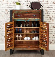 Urban Chic Shoe Cupboard at STORE. Shoe storage cupboard crafted from 150 year old reclaimed wood for a truly unique shoe . Shoe Storage Porch, Shoe Storage Cupboard, Hallway Storage, Bench With Shoe Storage, Shoe Cabinet, Shoe Storage Solutions, Storage Ideas, Bedroom Cupboard Designs, Shoe Bench