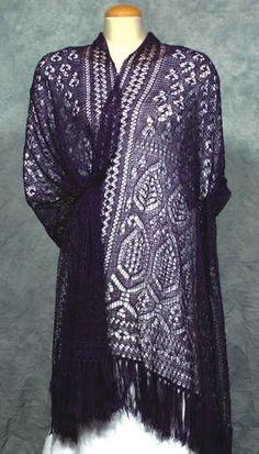 Fiddlesticks Knitting Paisley Long Shawl Lace Knitting Pattern