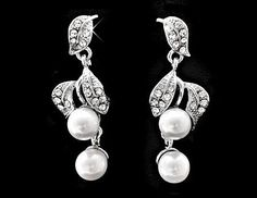 Wedding Earrings - Vintage Style Leaf Pearl Drop Earrings, Emma
