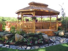 pergola or gazebo in the garden Wooden Garden Gazebo, Outdoor Gazebos, Backyard Gazebo, Outdoor Plants, Outdoor Rooms, Outdoor Gardens, Outdoor Living, Outdoor Structures, Wooden Fence