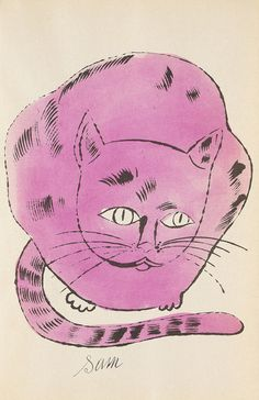 Andy Warhol, 25 Cats name(d) Sam and one Blue Pussy, 1954. Lithograph. From Warhol's first artist book.   Warhol's mother Julia Warhola moved in with her son in New York after her husband's death in the 1950s. Warhol used her neat writing for several works. She was also a passionate drawer. They had many cats, almost all of them were named Sam. The small book was a present for friends. On auction: Ketterer