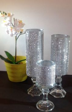 Trend It Up Set of 3 Tall Silver Rhinestone crystal Candle holders, Glass Wedding Centerpieces Pillar Crystal Holder,cylindrical candle holder - Handmade Wedding Reception Decorations, Wedding Table, Wedding Ceremony, Graduation Decorations, Church Wedding, Wedding Programs, Crystal Holder, Diy Centerpieces, Bling Centerpiece