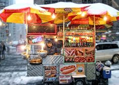 New York hotdog stands...pure art, in the street.....by Liz Baller