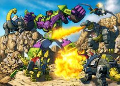 Dinobots vs. Devastator by ~Dan-the-artguy on deviantART