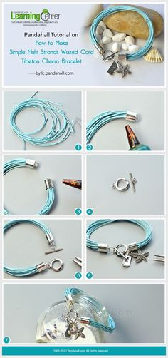 How to Make Multi Strands Waxed Cord Charm Bracelet Fix multi strands waxed cords with two cord ends, then add two Tibetan charms to finish this simple bracelet making.