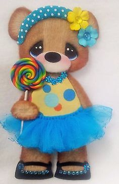 Tear bear baby Girl tutu paper piece  PREMADE SCRAPBOOK ~Boutique ~tags ~ELITE4U