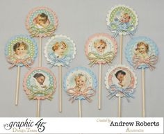 Love these favors by Andrew using Little Darlings - perfect for cupcakes, a cake topper, or to stick around as decoration #graphic45