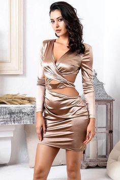 Sexy Deep V-Neck Open Back Bodycon Party Club Mini Dress party – Women Block Satin Dresses, Silk Dress, Sexy Dresses, Short Dresses, Hot Dress, Dress Skirt, Bodycon Dress, Fancy Dress, Dress Shoes