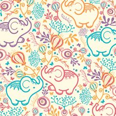Colorful design with cute elephants holding flower bouquets by Oksancia at www.oksancia.com