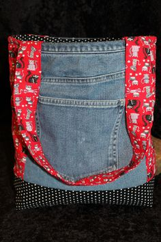 Upcycled denim and cotton cat tote bag by NaturallyOregon on Etsy