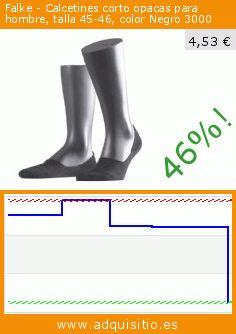 Falke - Calcetines corto opacas para hombre, talla 45-46, color Negro 3000 (Ropa). Baja 46%! Precio actual 4,53 €, el precio anterior fue de 8,38 €. https://www.adquisitio.es/falke/calcetines-corto-opacas-0