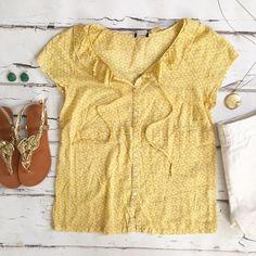 J. Crew Bunny Print Blouse Sunny yellow blouse with lovely bunny print. J. Crew retail. J. Crew Tops Blouses