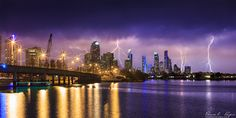 """ lightning over the gold coast city"" by Pawel Papis"