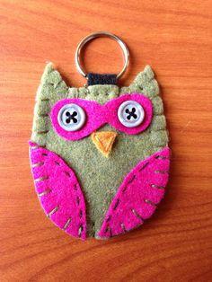 Owl Felt Keychain on Etsy, $5.00