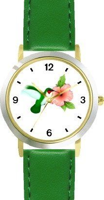 Red Throated Hummingbird or Humming Bird and Pink Hibiscus Flower - JP - WATCHBUDDY® DELUXE TWO-TONE THEME WATCH - Arabic Numbers - Green Leather Strap-Size-Children's Size-Small ( Boy's Size & Girl's Size ) WatchBuddy. $49.95