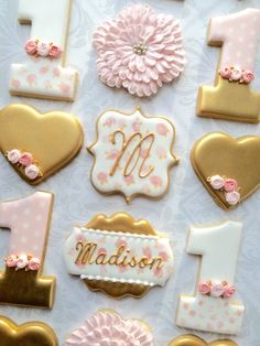 Pink and Gold First birthday Number 1 (one) and flowers -One Dozen Decorated Sugar Cookies Flower Sugar Cookies, Sugar Cookie Royal Icing, Pink Cookies, Baby Cookies, Iced Cookies, Horse Cookies, First Birthday Cookies, Gold First Birthday, Birthday Cake
