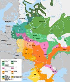 Диалекты русского языка в 1915 году, на территории европейской части современной России |