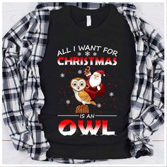 All I Want For Christmas Is An Owl T Shirt H4179 Ugly Sweater, Ugly Christmas Sweater, All I Want, Things I Want, Owl T Shirt, Christmas Owls, Zip Hoodie, Screen Printing, Tees